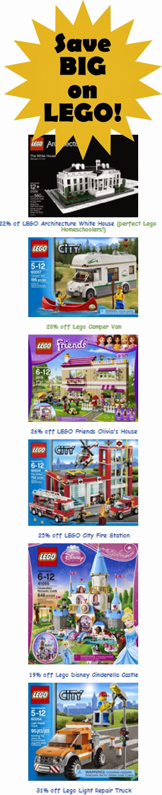 discounted lego sets in Amazon's big Christmas in July Lego sale event. Love the Lego White House, Lego Disney Princess Castle, Lego Fire station and more!