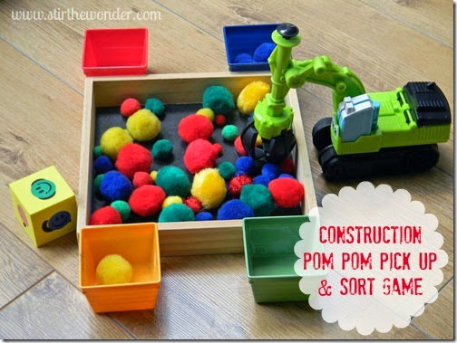 Construction Pom Pom Game from Stir the Wonder