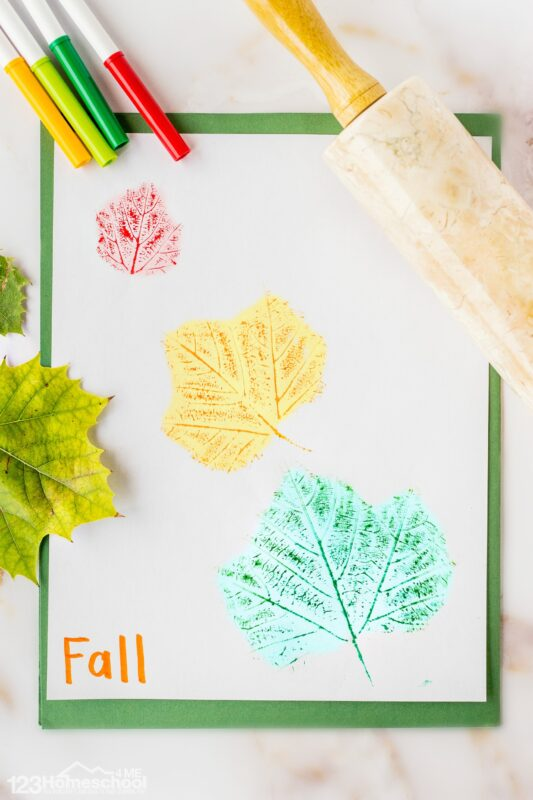 Fall Leaf Print Art for Kids