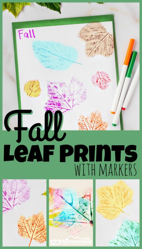 My kids love collecting pretty red, orange, and yellow leaves in the fall! We end up with lots of beautiful leaves from our daily walks. I was trying to find something different to do with the leaves, you know other than just crayon leaf rubbing or preserving leaves. So we made Fall Leaf Prints with markers. Thisleaf printing activity is such a fun leaf activity that preserves the intricate detail of leaves with cute leaf printing ideas. This leaf craft for kids is lots of fun and such an easy fall craft for toddlers, preschoolers, kindergarten, first grade, and 2nd grade students.
