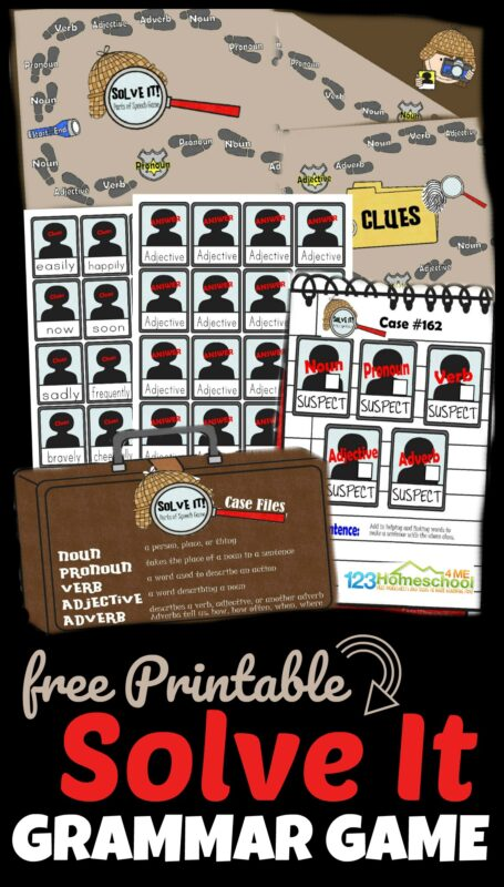 Free Solve It Parts of Speech Game - this grammar game is a fun way for 3rd grde, 4th grde, 5th grade, and 6th grade students to practice identifying noun, verb, pronoun, adjective, and adverbs #homeschool #grammar #grade3 #grade4
