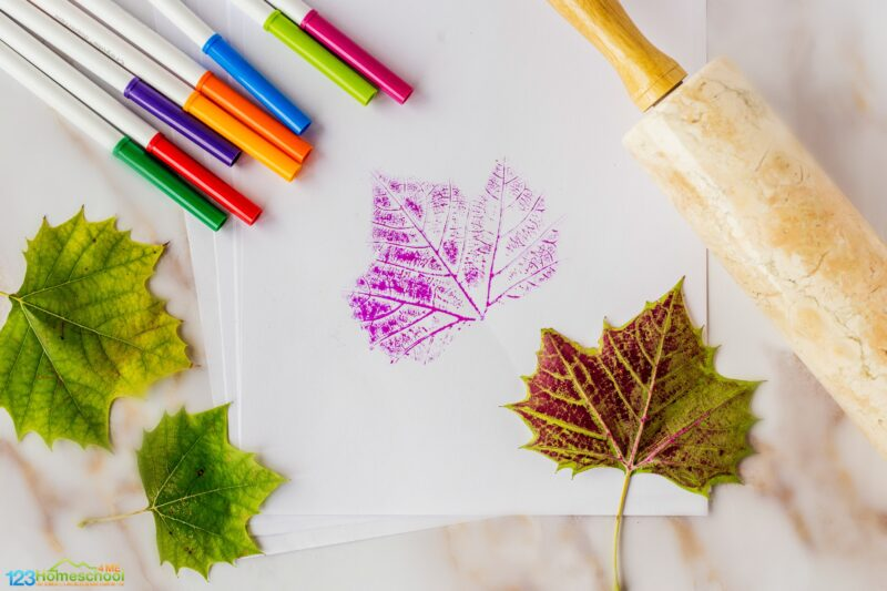 fun and easy to make Leaf Print Craft for Kids