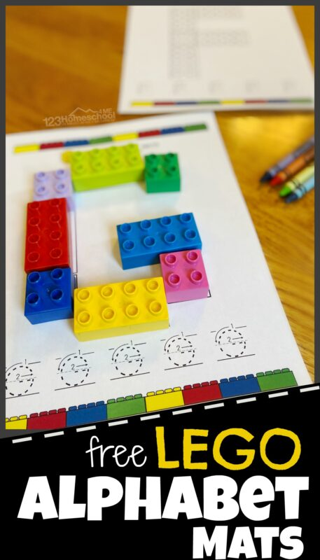 Make learning your ABCs fun with Lego letters! These hands-on, free printable, Duplo Alphabet Mats allow children to form uppercase lettesr out of lego bricks and then practice tracing letters too. There is a page for each letter A to Z. Use this lego alphabet with toddler, preschool, pre-k, kindergarten, and first graders. Simply print pdf file with lego alphabet letters printable and you are ready to play and learn!