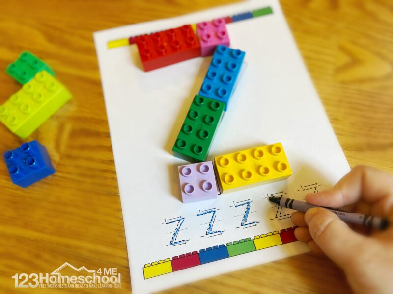 hands on alphabet activity using blocks and Lego Duplo Printables