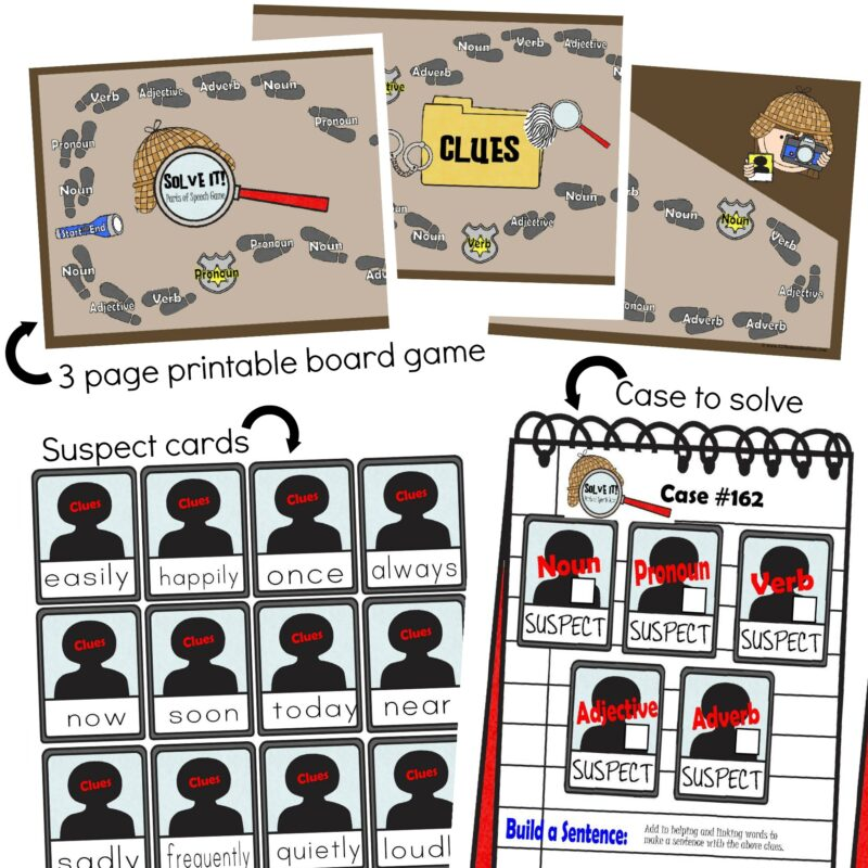 free printable Parts of Speech Game for grade 3, grde 4, grde 5, and grade 6 students