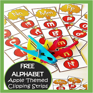 apple alphabet clip cards