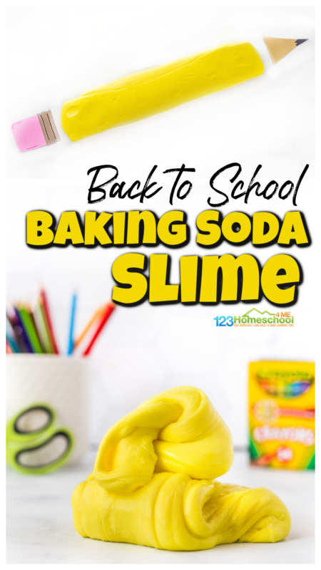 Are your kids as crazy about slime as mine are? My kids love playing with slime and trying different types of slime. In our experimenting, we came up with this cool baking soda slime. This slime uses baking soda as the activator for a wonderful sheen and flow without being sticky at all! And with the first day fo sCome see how to make slime with baking soda and get playing with your preschool, pre-k, kindergarten, first grade, 2nd grade, and 3rd graders.