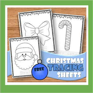 christmas tracing worksheets (pre writing practice)