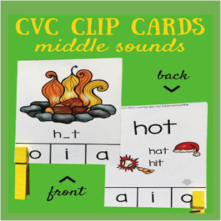 cvc words clip cards middle sounds