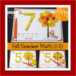 Fall Number Mats Counting to 10 with playdough