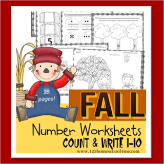 fall number worksheets counting 1 10