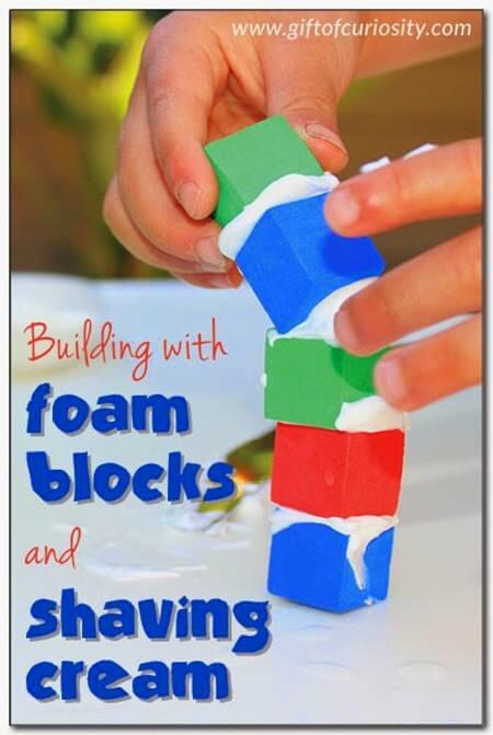 Foam Blocks + Shaving Cream = LOTS of fun! #preschool #play #kidsactivities