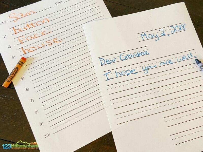 free printable handwriting paper for preschool, pre k, kindergarten, grade 1, grade 2, grade 3, grade 4