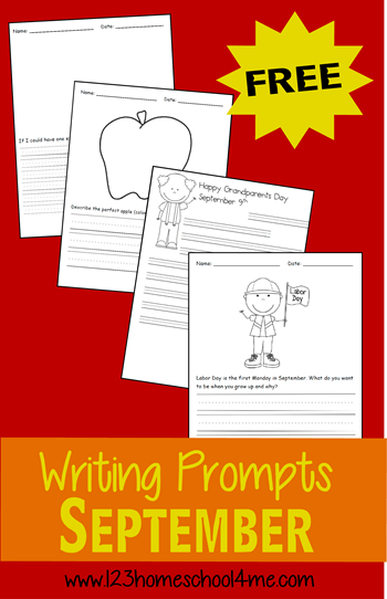 FREE September Writing Prompts for Kindergarten, 1st grade, 2nd grade, 3rd grade, and 4th grade kids (homeschool)