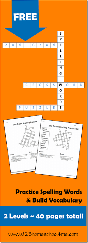 FREE 2nd Grade Spelling Word Crossword Puzzles | 123