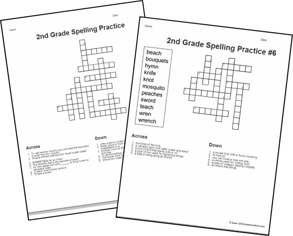 FREE 2nd Grade Spelling Word Crossword Puzzles | 123 ...