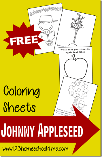 FREE Johnny Appleseed Coloring pages for kids in September #coloringpages #preschool