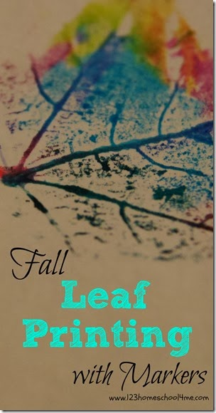 Fall leaf printing with markers activity for kids