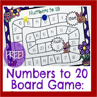 Spring Numbers to 20 Board Game