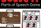 FREE parts of speech printable games - kids will have fun practicing nouns, verbs, adverbs, adjectives, and pronouns with this fun, english grammar game for 2nd grade, 3rd grade, 4th grade, 5th grade, and 6th grade students #partsofspeech #grade3 #grade4 #grade5 #grade6 #homeschool