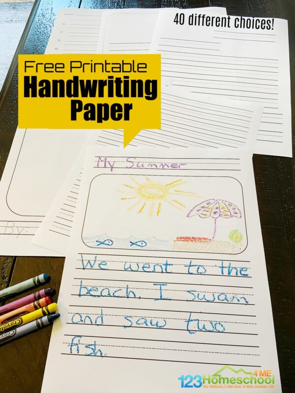 Looking for free printable handwriting paper for handwriting, letters, stories, spelling tests, writing sentences and more? We have a huge pack for you to download the pdf file and print for your kids!