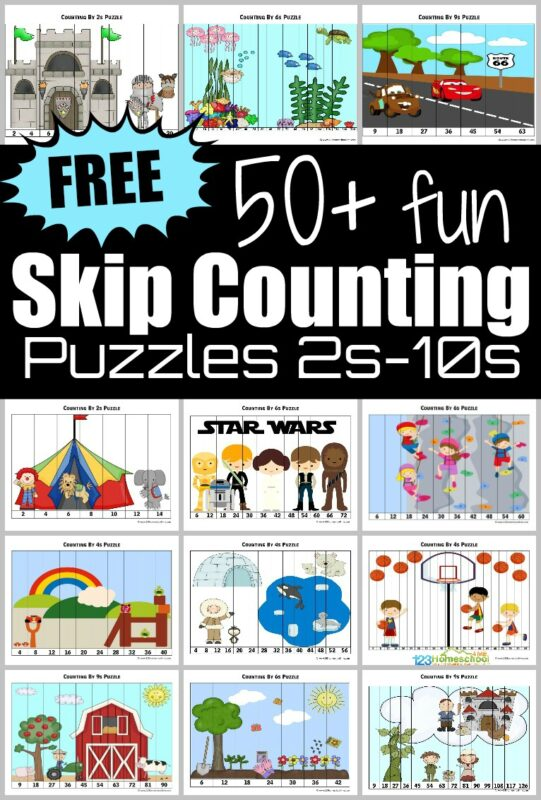 If you are looking for a fun way to practice skip counting, the foundation for multiplication, you will love this HUGE pack of free printable Skip Counting Puzzles to help Kindergarten, first grade, 2nd grade, 3rd grade, 4th grade, 5th grade, and 6th grade students practicing counting by 2s, 3s, 4s, 5s, 6s, 7s, 8s, 9s, and 10s. You will love that the pdf file includes increasingly difficult puzzles that are self checking to turn this math skill into a hands on math game!