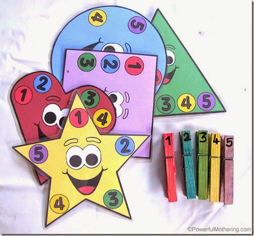 Preschoolers learn colors, shapes, and counting 1-5 with this fun, hands on free preschool printable