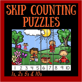 summer skip counting puzzles - 1s, 2s, 5s, 10s