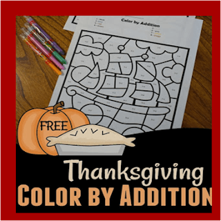 thanksgiving color by addition