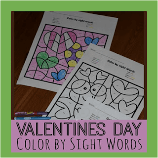 valentines day color by sight words