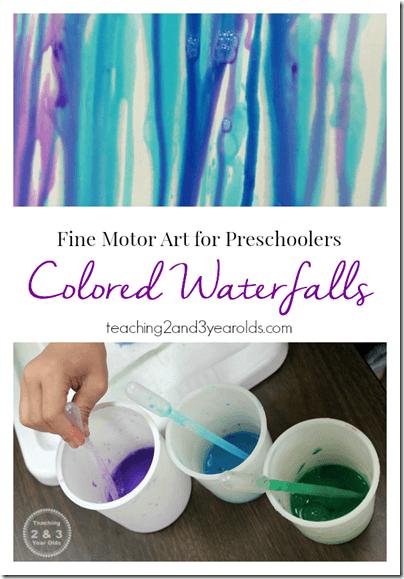 Colorful Waterfall Painting for Preschoolers #preschool #painting #kids