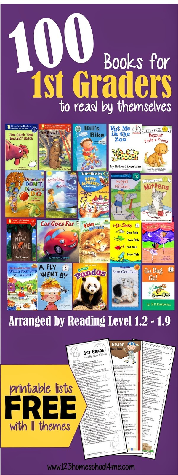 100 Books for first graders to Read by themselves arranged by book level! Includes FREE 1st Grade Reading List in the form of a bookmark which is super handy to bring along to the library! (Grade 1)