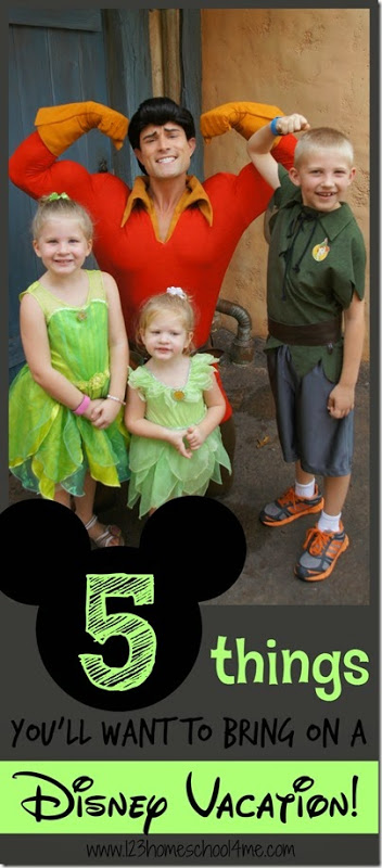 5 MUSTS for your Disney Packing List - great Disney tips for family vacation. You wont' want to forget these!!! #disney #disneyworld #disneyvacation #disneypackinglist