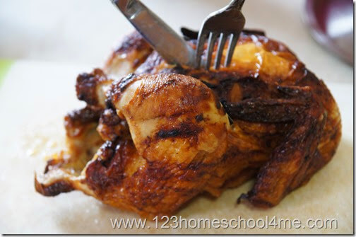 Save time by cutting up a rotisserie chicken