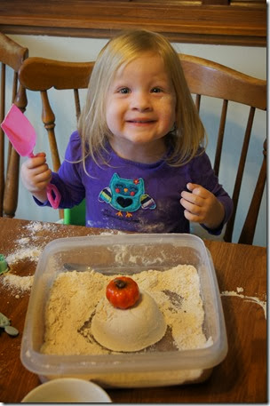 Look Mom! I mad a pumpkin Sand Castle