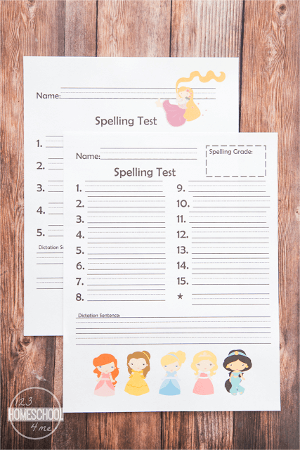 FREE Princess Printable Spelling Test to use with any spelling list - works for 10, 15, 20 words with/without dictation. (homeschool, first grade, 2nd grade, 3rd grade, 4th grade, 5th grade, 6th grade)