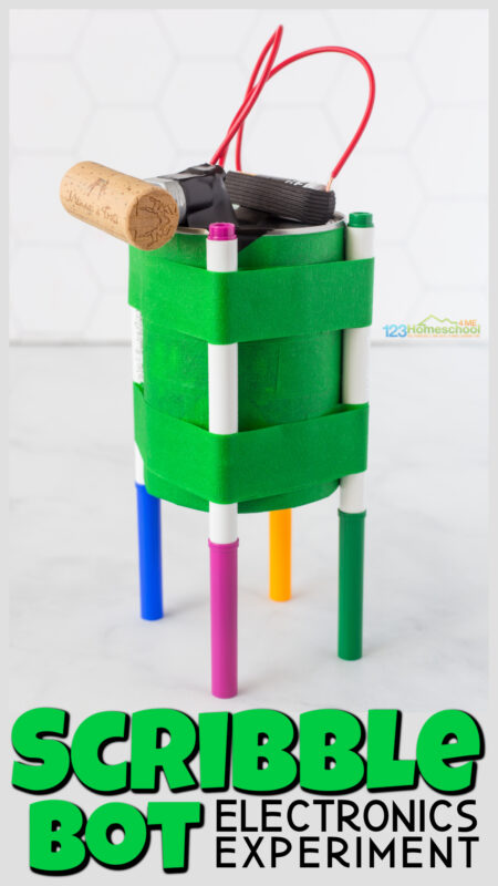 Scribble Bot combines art and science for an EPIC STEM project for kids of all ages. This simple electricity experiment makes a fun drawbot!