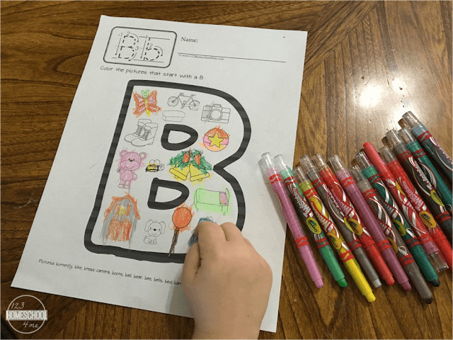 phonics coloring pages to help kids work on phonemic awareness, build vocabulary, and strengthen fine motor skills! Fun alphabet activity for toddlers, preschoolers, prek, and kindergarten age students. Pictured is letter B