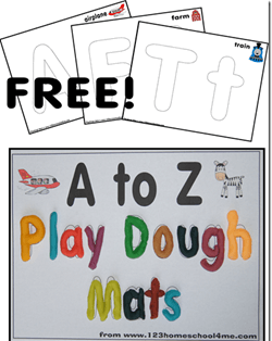 Free Alphabet Play Dough mats #preschool #alphabet #playdough