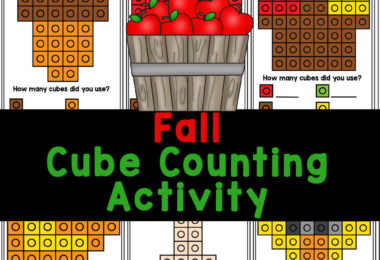 Hands-on Apple Math Activity with free printablesnap cube pattern cards! Simply printsnap cube worksheets to play and learn!