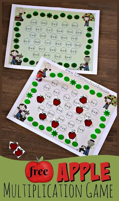 FREE Apple Multiplication Game - this free printable math game for fall is LOW prep and perfect for practicing alone or with a friend. for 3rd grade, 4th grade, and 5th grade students  #mathgames #multiplication #apples