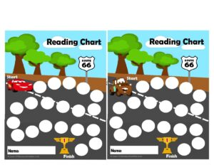 Use these lightening mcqueen and tow mater printables to encourage kids to read or as a chore chart