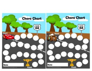 Super cute Disney Cars themed chore chart for kids