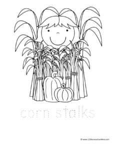 girl hiding in haystack coloring page for fall.