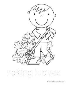 boy raking pile of fall leaves coloring sheet