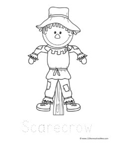 cute scarecrow coloring page for toddler, preschool, pre k, kindergarten, first grade, 2nd grade