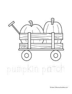 pumpkins in wagon free coloring page for fall