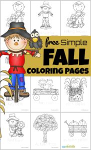 Looking for some quick and easy fall coloring pages? You will love these simple free coloring sheets perfect for toddler, preschool, pre k, kindergarten, first grade, and 2nd grade students to enjoy this Autumn. Simply print pdf file, print coloring sheets with pumpkins, scarecrows, bales of hay, etc. and colour!