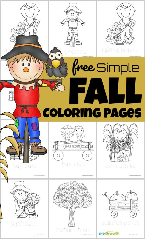 FREE Simple Fall Coloring Pages