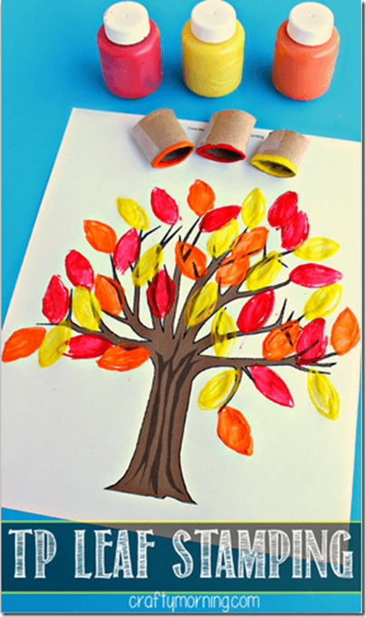 TP Stamped Fall Tree Craft for Kids #fall #craftsforkids #preschool